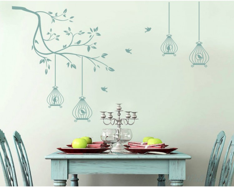 Branch Wall Decal with Birdcages